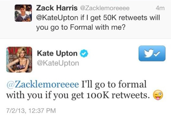 Kate Upton, Zack Harris Tweet