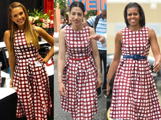 Jessica Alba, Huma Abedin, Michelle Obama, ASOS Skater Check Dress