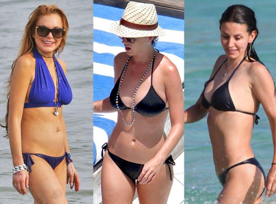 Lindsay Lohan, Katy Perry, Courteney Cox, Bikini