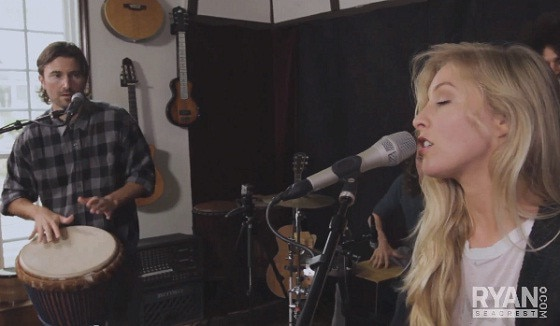Brandon Jenner and Leah Jenner perform songs from their new EP for Ryan Seacrest and family members Bruce Jenner and Kim Kardashian
