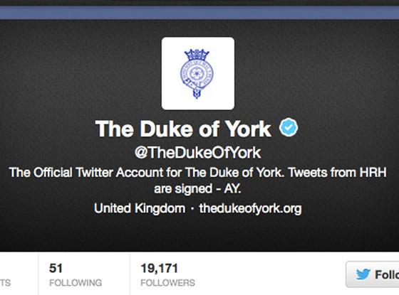 Prince Andrew, Duke of York Twitter