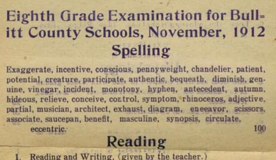 Eight Grade Examine 1912
