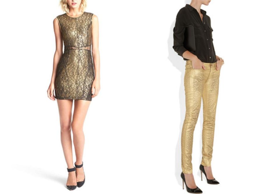 Gold Dress, Gold Pants