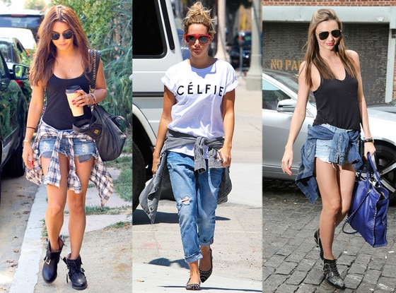 Vanessa Hudgens, Miranda Kerr, Ashley Tisdale, Shirt Around Waist