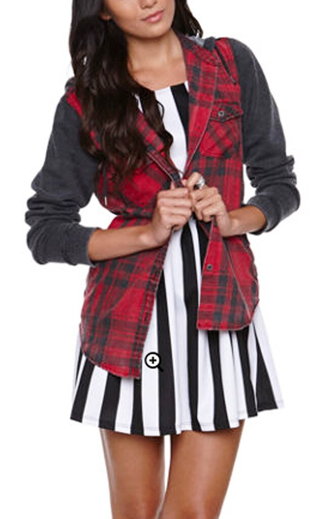 Punk Grunge Trend, LA Hearts Plaid Burnout Shirt
