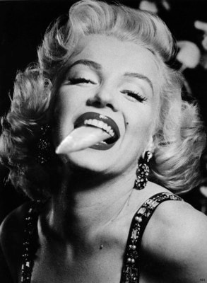 Marilyn Monroe with tongue