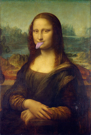 Mona Lisa with tongue