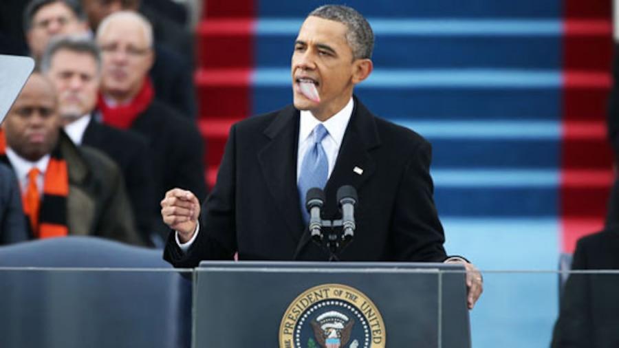 Barack Obama with tongue