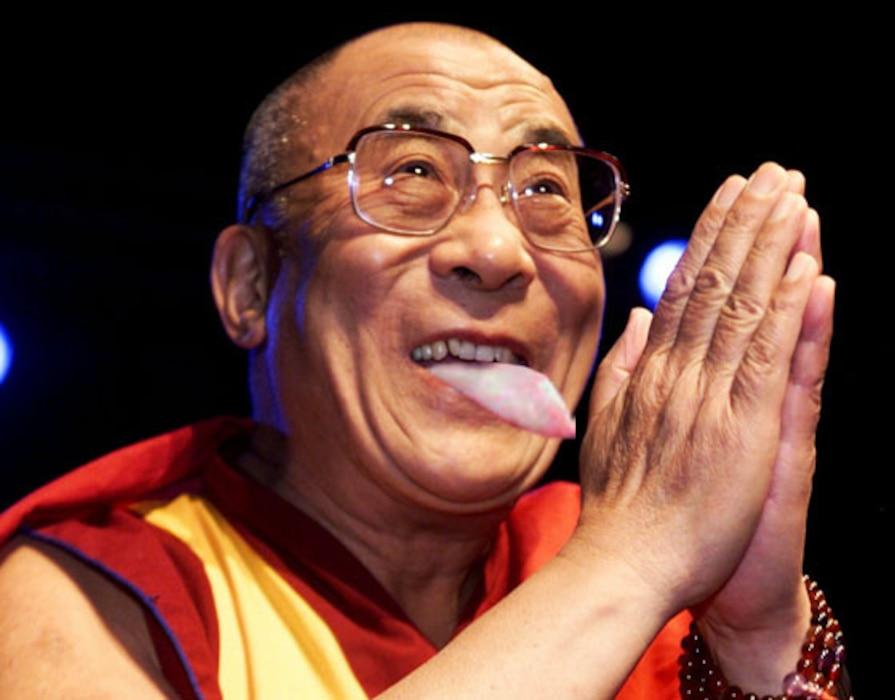 Daili Lama with tongue