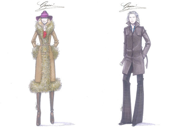 Gucci Rush Film Costume Sketches
