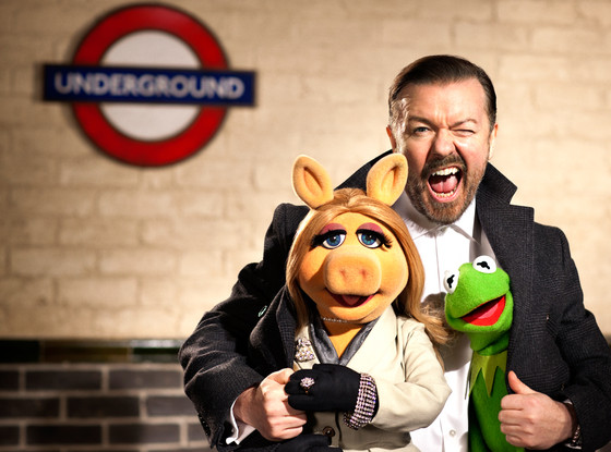 Muppets Most Wanted, Ricky Gervais, Kermit the Frog, Miss Piggy