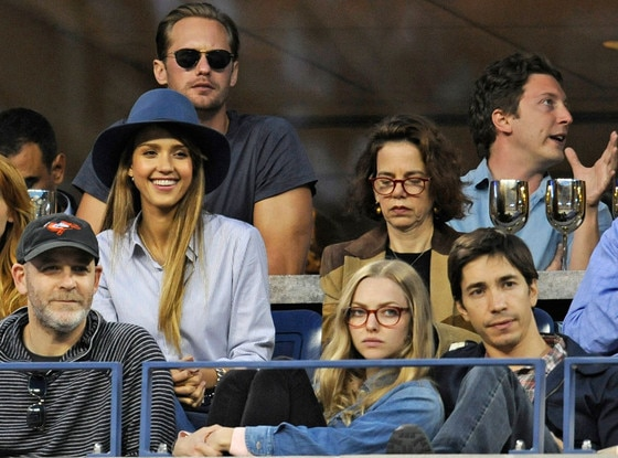 Jessica Alba, Amanda Seyfried, Justin Long, right, and Alexander Skarsgard, US Open