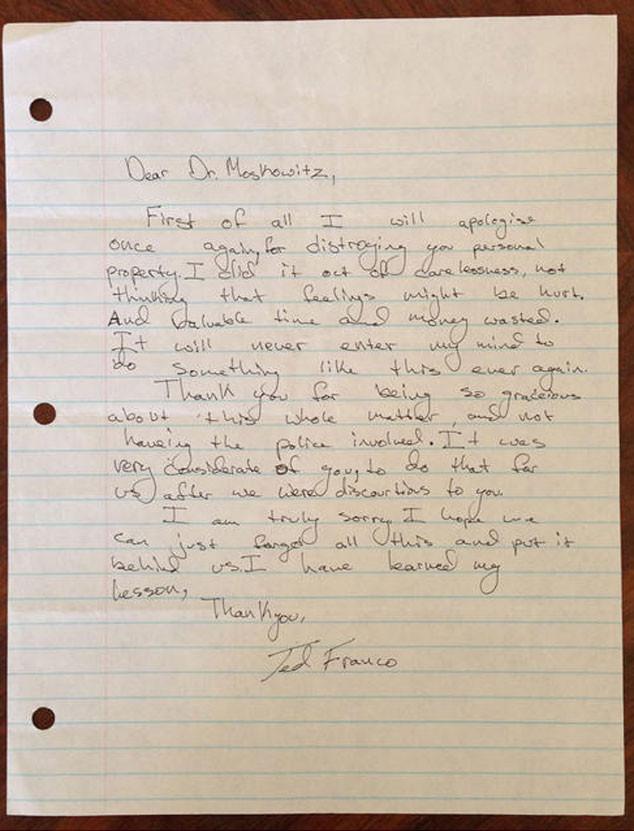 James Franco, Apology Letter