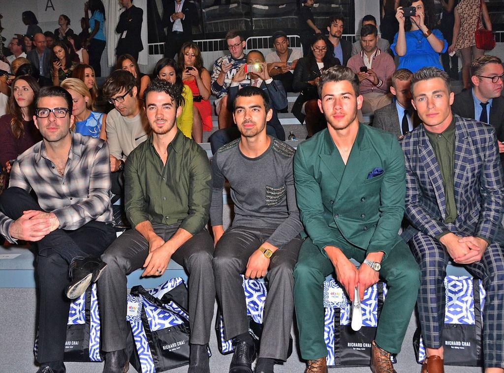 Zachary Quinto, Kevin Jonas, Joe Jonas, Nick Jonas, Colton Haynes, NYFW