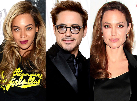 Angelina Jolie, Beyonce, Robert Downey Jr.