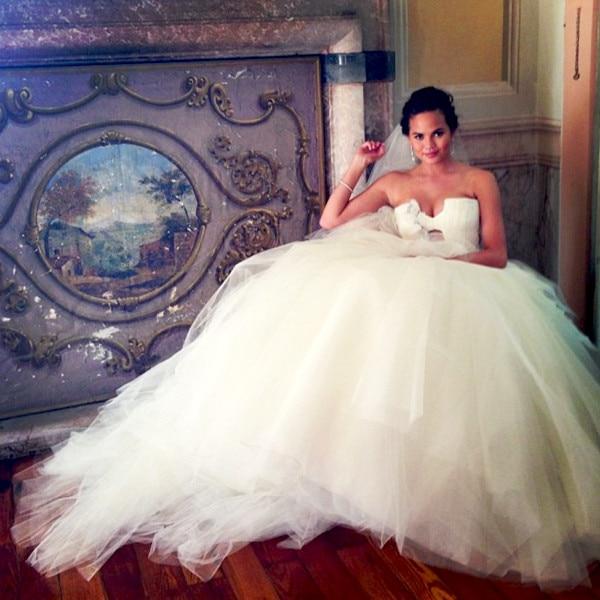 Chrissy Teigen Shows Off Her Wedding Gown On Instagram