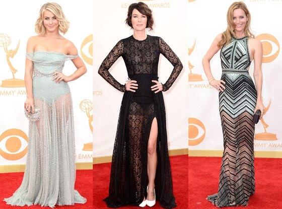 Dresses with Sheer Bottoms, Julianne Hough, Lena Headley, Leslie Mann, Emmy Awards 2013