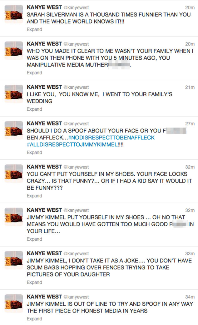 Kanye West, Jimmy Kimmel, Twitter