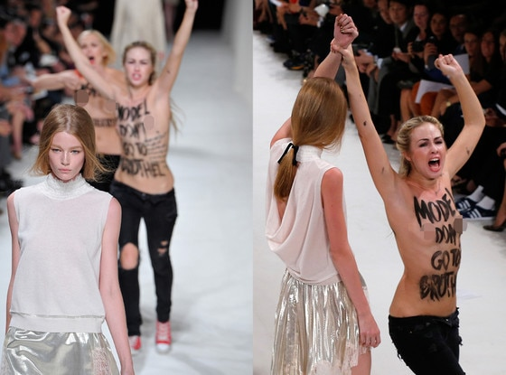 Model Punches Protestor, Nina Ricci, Femen