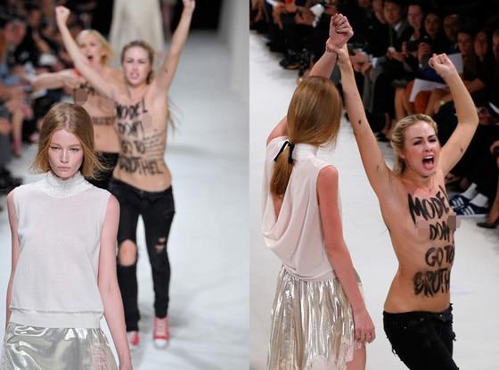 Model Punches Protestor, Nina Ricci, Femen