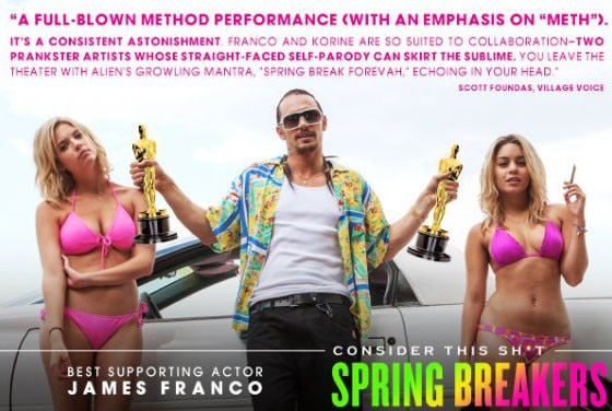 For you consideration ad, Spring Breakers, James Franco