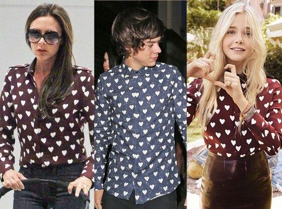 Victoria Beckham, Harry Styles, Elle Fanning, Burberry Heart Shirt
