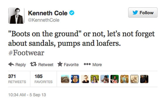 Kenneth Cole, Tweet