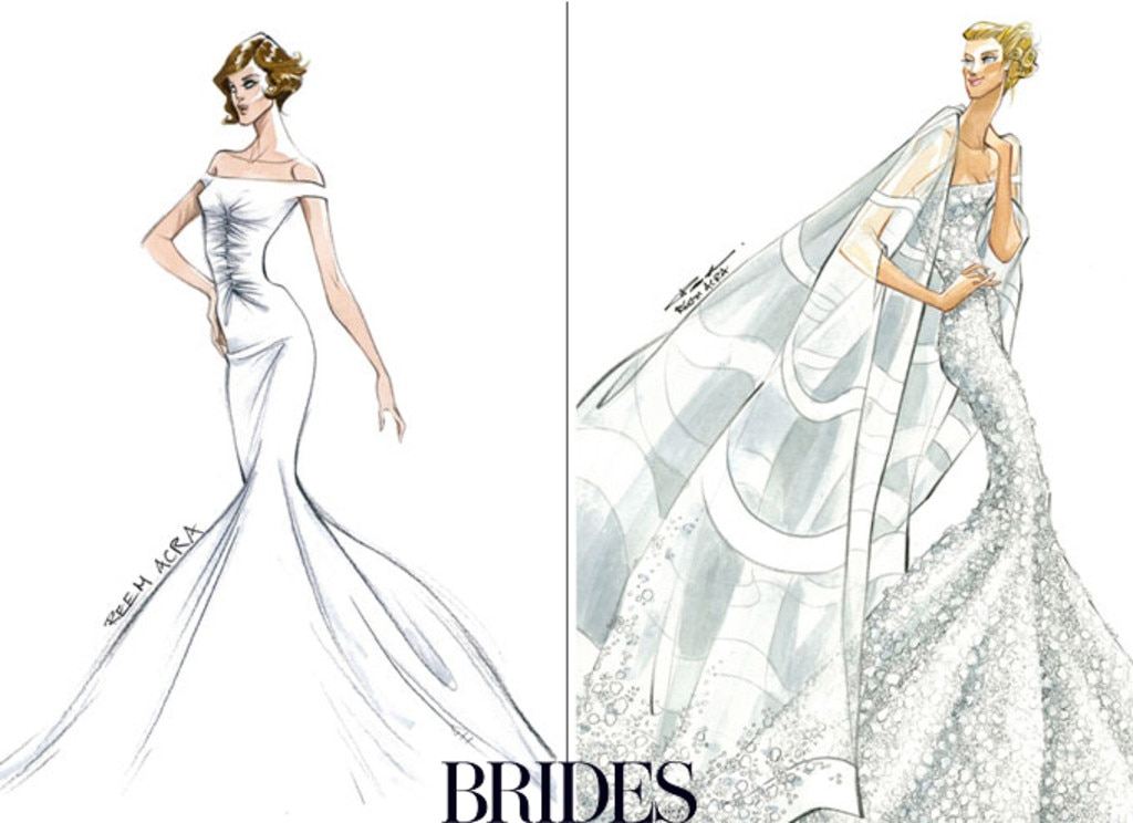 Angelina Jolie, Jennifer Aniston, Wedding Dress Sketch, Reem Acra