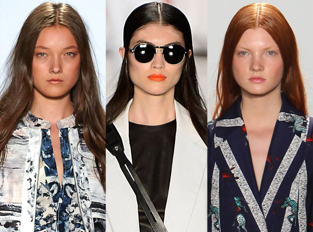 Slick Middle-Part hair, BCBGMAXAZRIA, Rag & Bone, Suno, New York Fashion Week