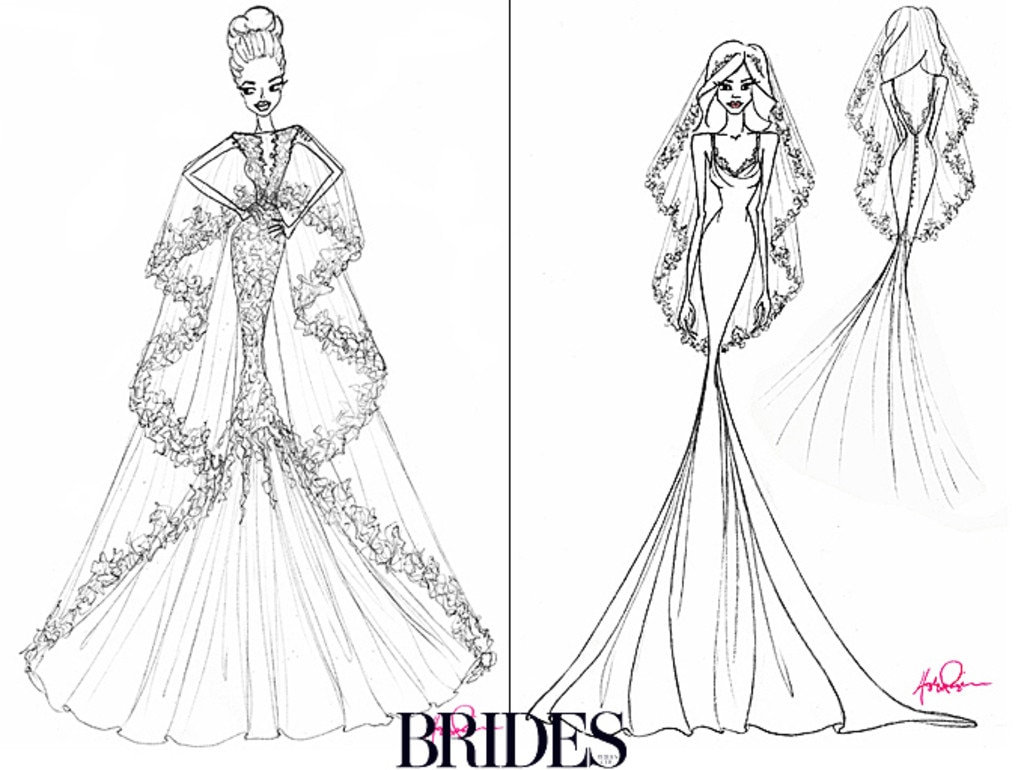 Angelina Jolie, Jennifer Aniston, Wedding Dress Sketch, Hayley Paige
