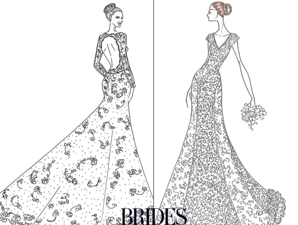 Angelina Jolie, Jennifer Aniston, Wedding Dress Sketch, Alfred Angelo