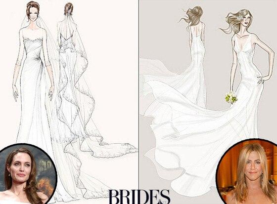 Angelina Jolie, Jennifer Aniston, Wedding Dress Sketch, Watters