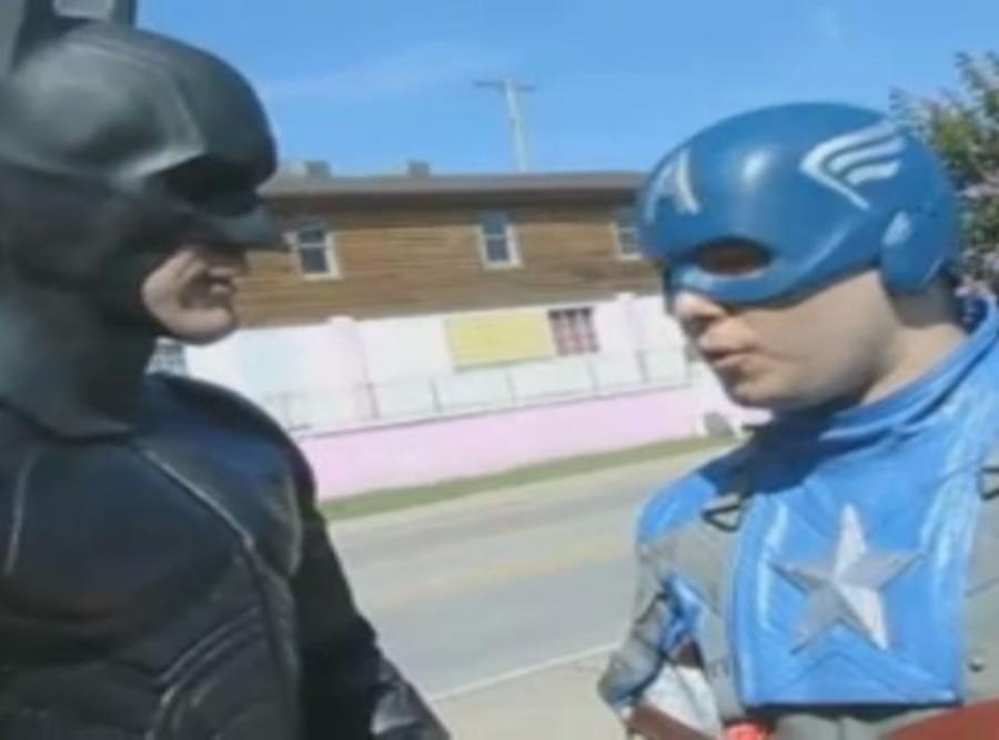 Batman, Captain America, Cat Rescue