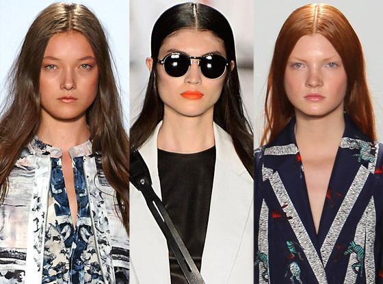 Slick Middle-Part hair, BCBGMAXAZRIA, Rag & Bone, Suno, New York Fashion Week