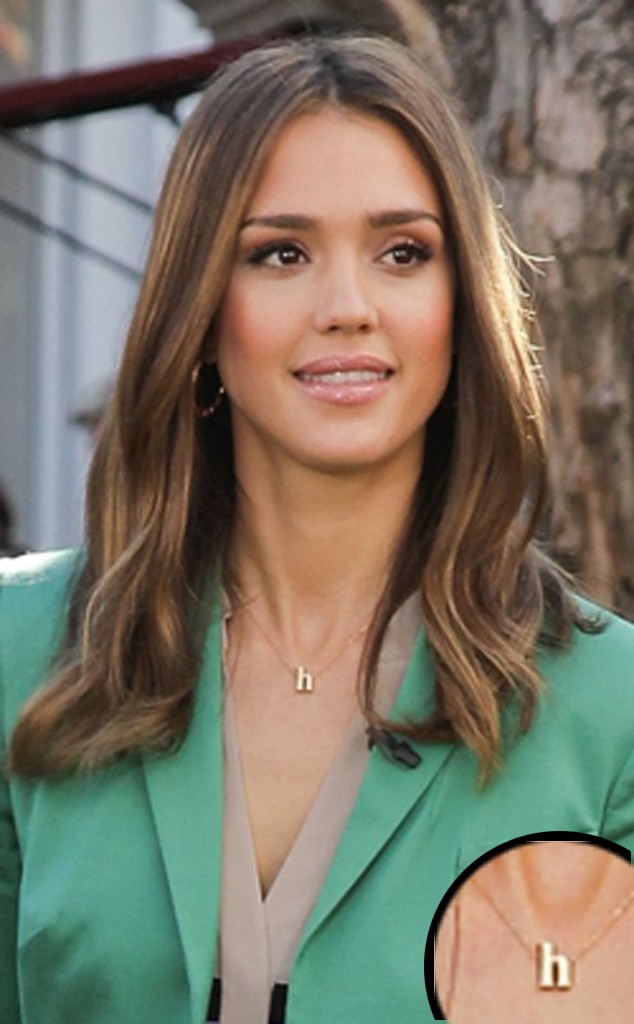 Nameplate Necklaces, Jessica Alba