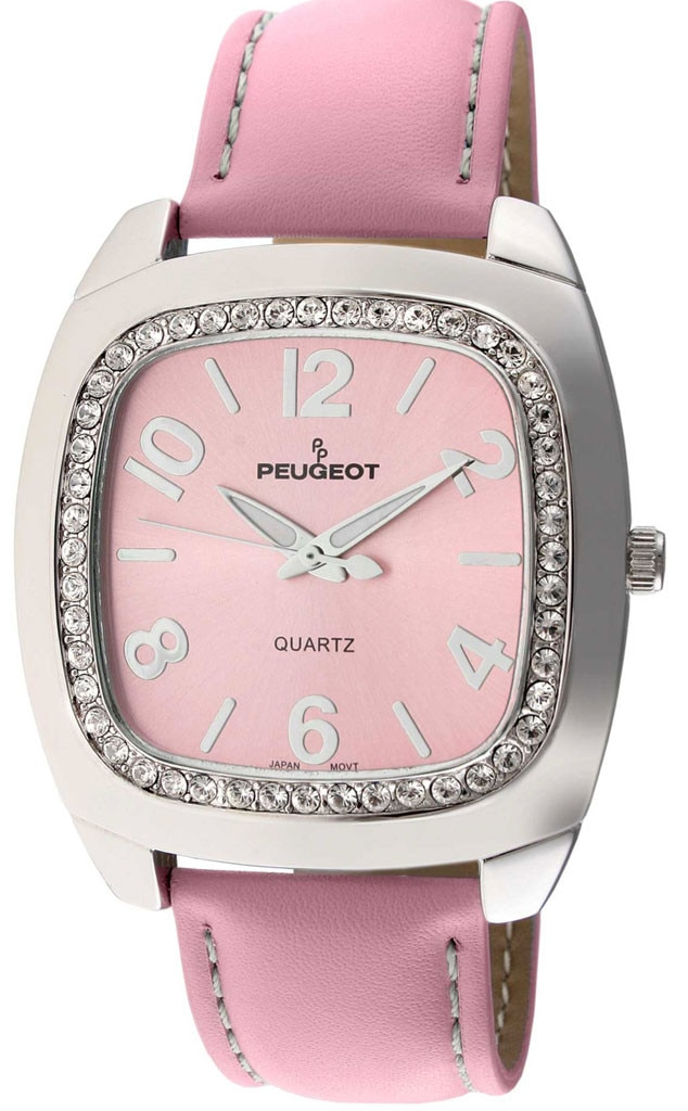 Editor Obsessions, Peugot Crystal Pink Leather Boyfriend Watch