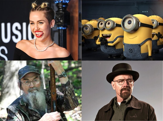 Miley Cyrus, Breaking Badf, Despicable Me Minions, Duck Dynasty