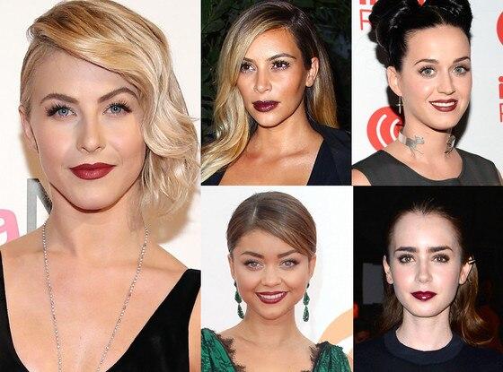 Dark Lipstick, Katy Perry, Kim Kardashian, Julianne Hough, Sarah Hyland, Lily Collins