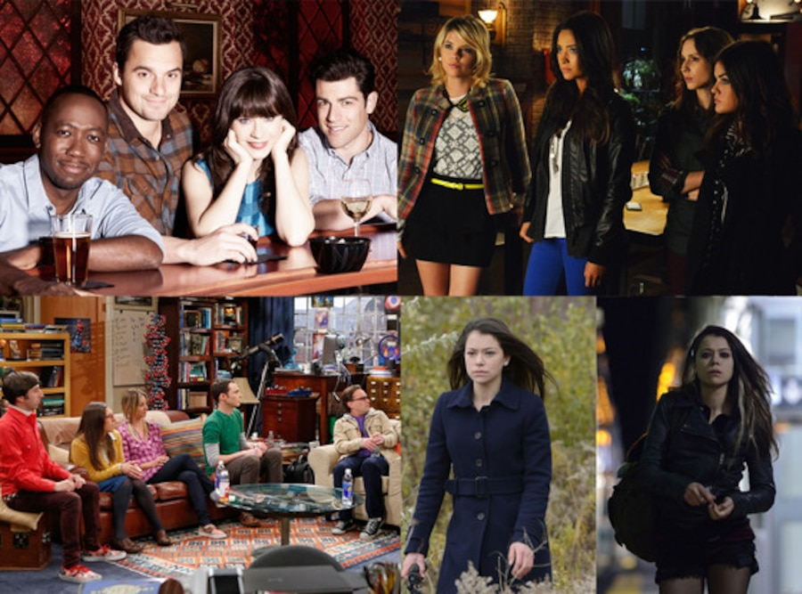 New Girl, Orphan Black, The Big Bang Theory, Pretty Little Liars