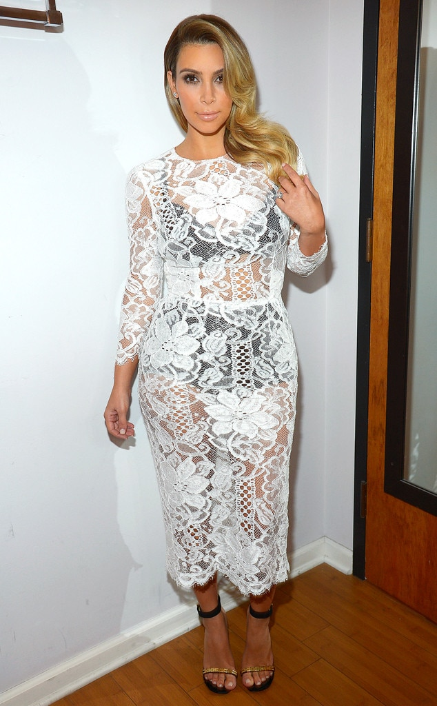 Kim Kardashian Shows Off Curves in See-Through White Lace Dress ...
