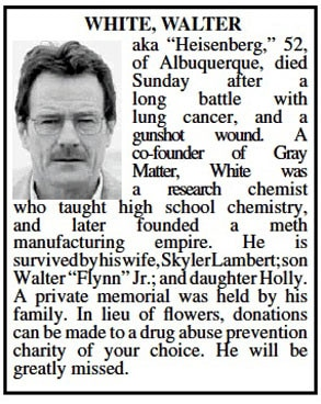 Breaking Bad, Walter White Obit