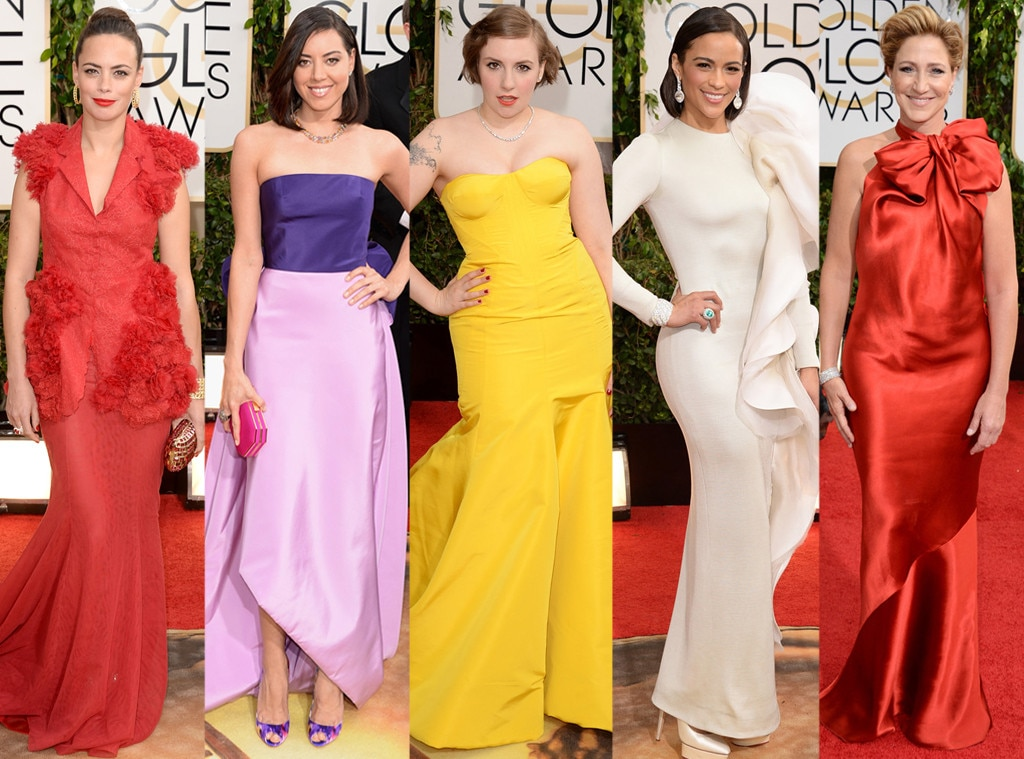 Worst Dresses, Lena Dunham, Edie Falco, Paula Patton, Aubrey Plaza, Berenice Bejo, Golden Globes