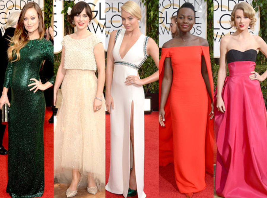 Lupita Nyong'o, Margot Robbie, Olivia Wide, Zooey Deschanel, Taylor Swift, Golden Globes 2014