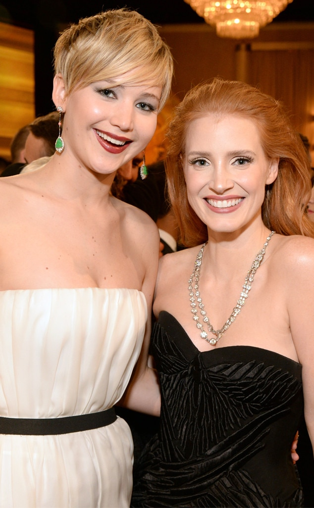 Jennifer Lawrence, Jessica Chastain, Golden Globes 2014