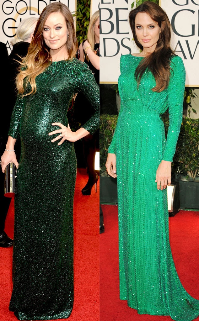 Olivia Wilde, Angelina Jolie, Golden Globes, Green Dress