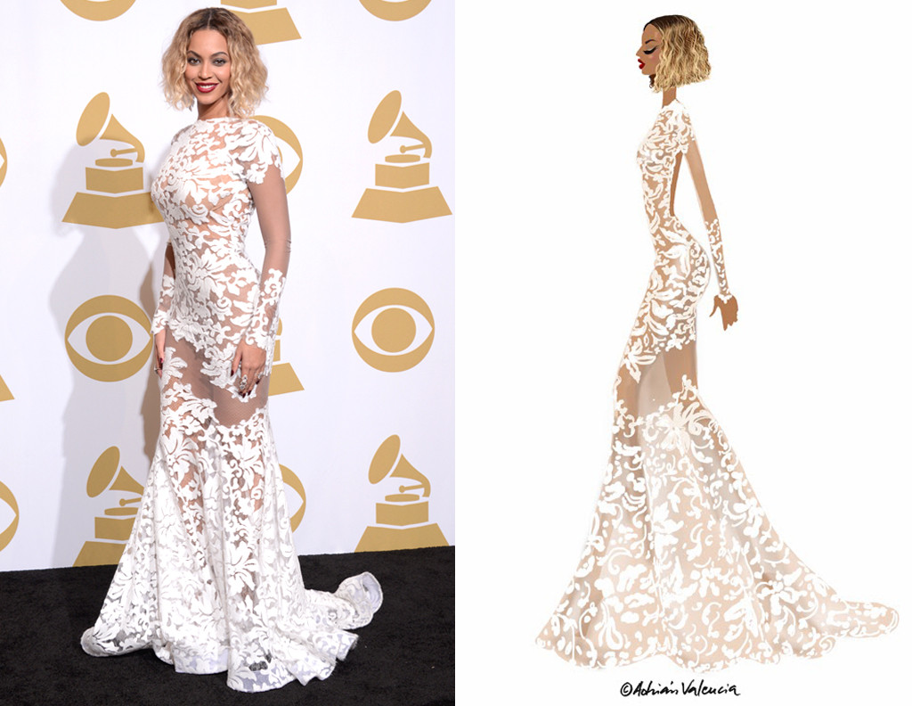Beyonc 39 s white hot grammy gown singer 39 s stylist dishes for Lace wedding dress instagram