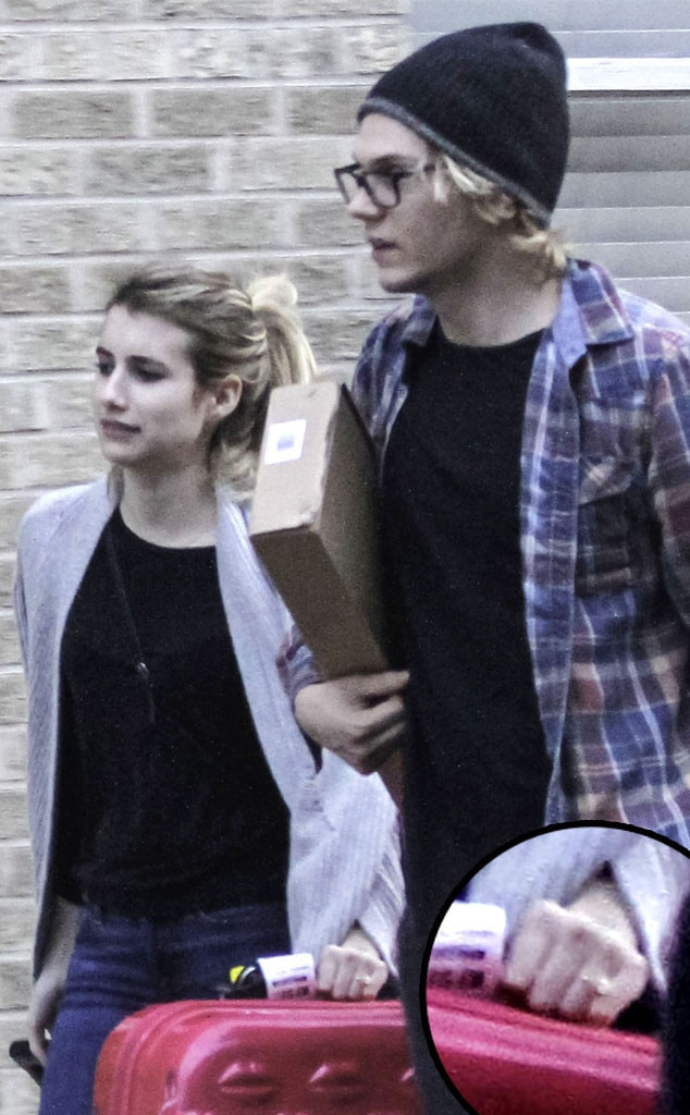 Emma Roberts, Evan Peters, Engagement Ring