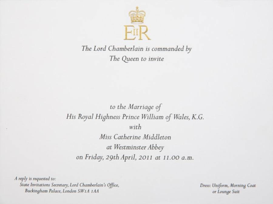 Prince William, Duchess Catherine, Kate Middleton, Wedding Invitation