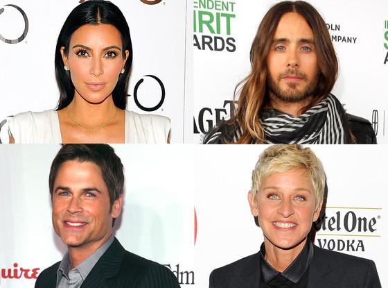 Kim Kardashian, Jared Leto, Rob Lowe, Elle DeGeneres