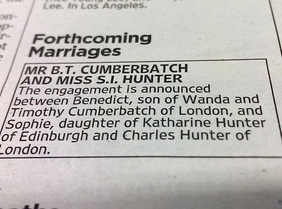 Benedict Cumberbatch, Sophie Hunter, Engagement Announcement